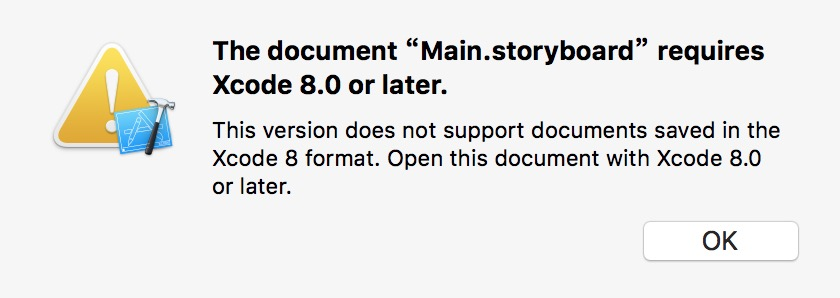 "The document ""Main.storyboard"" requires Xcode 8.0 or later"
